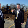KEN YUSZKUS/Staff photo: From left, Headmaster Edward P. Hardiman, assistant head of school for facilities Steve Cunningham, and Principal Keith A. Crowley, near the construction site of St. John's Prep new STEM academic building in Danvers.
