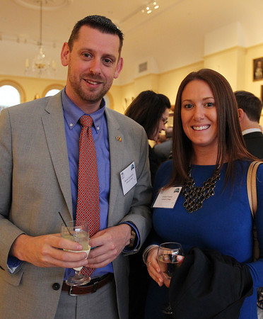Patrick Cornelissen and Kristen Franco, from Endicott College, at the Annual Salem Chamber of Commerce Dinner held at the Peabody Essex Museum on Wednesday evening. DAVID LE/Staff photo. 4/23/14