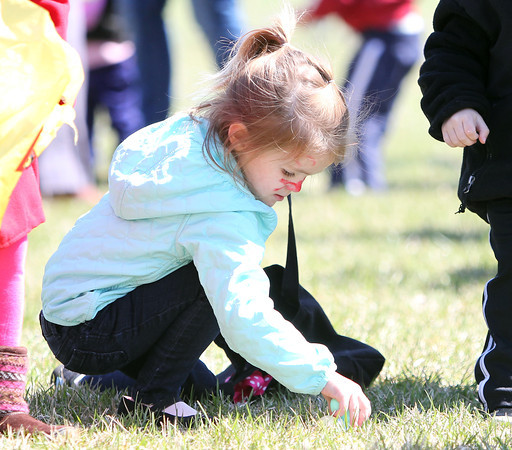 Four-year-old Gabriella Krisko, of Beverly, carefully gathers Easter eggs during Netcast's 4th annual Easter Egg Hunt held at Beverly High School on Saturday morning. DAVID LE/Staff photo. 4/19/14