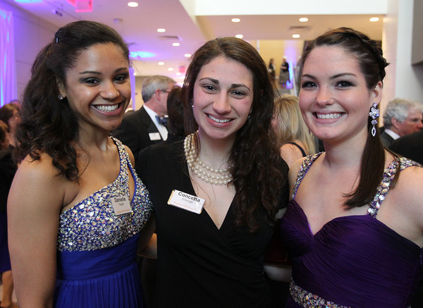 """From left: Salem State University sophomore Danielle Terrell, senior Connie D'Amato, and freshman Colleen Wholley, at a gala held in the atrium of the Gassett Fitness Center on Saturday evening. The university announced the public phase of a $25 million campaign, the largest fundraising initiative ever taken by the university, and announced that they've already raised $15 million towards the goal in a private phase of the campaign, which they called """"10,000 reasons."""" DAVID LE/Staff photo. 4/12/14"""