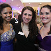 "From left: Salem State University sophomore Danielle Terrell, senior Connie D'Amato, and freshman Colleen Wholley, at a gala held in the atrium of the Gassett Fitness Center on Saturday evening. The university announced the public phase of a $25 million campaign, the largest fundraising initiative ever taken by the university, and announced that they've already raised $15 million towards the goal in a private phase of the campaign, which they called ""10,000 reasons."" DAVID LE/Staff photo. 4/12/14"