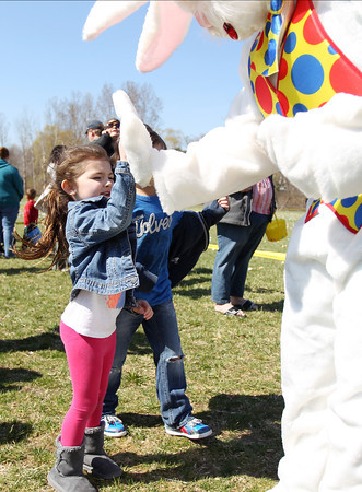 Gabriella Krochmal, 5, of Lynn, gives the Easter Bunny a high-five during Netcast's 4th annual Easter Egg Hunt held at Beverly High School on Saturday morning. DAVID LE/Staff photo. 4/19/14