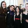 "From left: Salem State University senior Alisha Halpin, junior Andrew Visconti, graduate student Alexis Quintal, and sophomore Cheryl Goodney, at a gala held in the atrium of the Gassett Fitness Center on Saturday evening. The university announced the public phase of a $25 million campaign, the largest fundraising initiative ever taken by the university, and announced that they've already raised $15 million towards the goal in a private phase of the campaign, which they called ""10,000 reasons."" DAVID LE/Staff photo. 4/12/14"