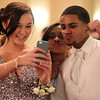 Salem High School juniors Alexa Rhodes, Denisha Dominguez, and Jamaal Baez take a photo at Salem High School's junior prom held at the Peabody Marriott Hotel on Friday evening. DAVID LE/Staff photo 4/4/14