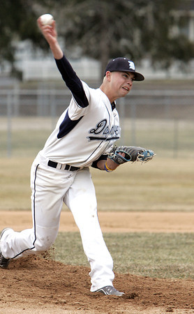 KEN YUSZKUS/Staff photo: Danvers' pitcher Raffy Tylus on the pitcher's mound during the Lynn Classical at Danvers baseball game  in home opener at Twi Field at Plains Park.