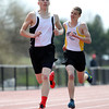 Bishop Fenwick sophomore Mitch Rivers, left, and junior Pat Walsh, took first and second in the boys 800 meter race in a dual meet against St. Mary's (Lynn) and Cathedral on Tuesday morning at Bishop Fenwick High School in Peabody. DAVID LE/Staff photo. 4/22/14