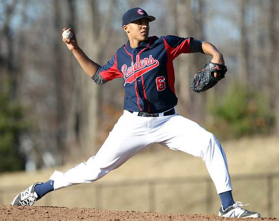Central Catholic pitcher Sam Lava (6) fires a pitch in his relief effort against St. John's Prep. The Raiders fell to the Eagles 9-3 at St. John's Prep in Danvers on Thursday afternoon. DAVID LE/Staff photo 4/10/14