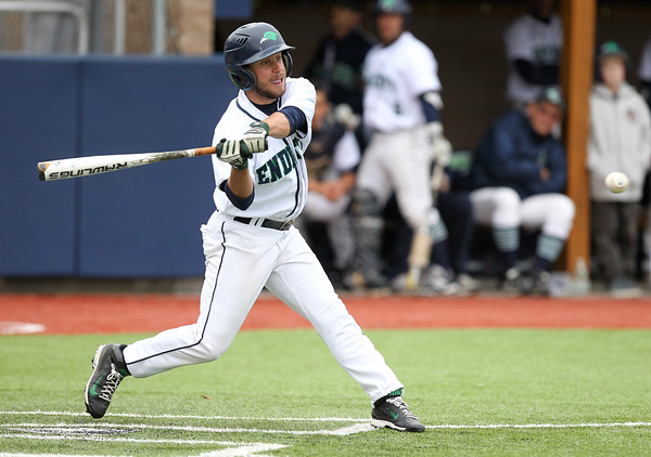 Endicott freshman Cam Farnham (21) lines a single against Salem State on Wednesday afternoon. DAVID LE/Staff photo. 4/23/14