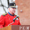 Lt. Col. Larry Conway, Commander of the Second Corps Cadets Veterans Association of Salem, speaks during a ceremony at Armory Park to honor those lost in the battle of Lexington and Corcord from Essex County, as part of the 377th Anniversary of the First Muster on Salem Common. DAVID LE/Staff photo 4/5/14