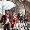 Marblehead's Glover's Regiment marches through the archway at Armory Park following a ceremony as part of the 377th Anniversary of the First Muster on Salem Common. DAVID LE/Staff photo 4/5/14