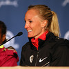 Marblehead native Shalane Flanagan smiles while talking about her PR of 2:322:02 in the 118th Boston Marathon. DAVID LE/Staff photo. 4/21/14