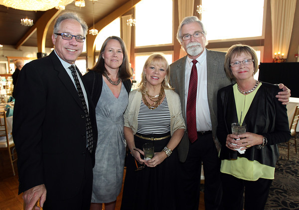 From left: Joe and Christiana Zelloe, of Marblehead, Jo and Phil Broderick, of Middleton, and Eileen Duggan, of Salem, at the 6th annual North Shore Star singing competition hosted by the Beverly Rotary Club and North Shore Music Theatre held at the Danversport Yacht Club on Friday evening. DAVID LE/Staff photo. 4/25/14