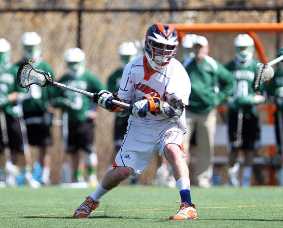 Salem State junior midfielder and Salem native Nate Staples (4) lines up a shot on net against Plymouth State on Saturday afternoon. DAVID LE/Staff photo. 4/12/14