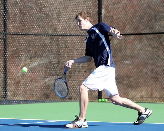 Pingree Boy's Tennis No. 1/2 Singles Junior Jeremy Wiles. DAVID LE/Staff photo 4/1/14