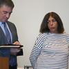 KEN YUSZKUS/Staff photo. Nancy Barr, right, is in Salem Superior Court with her defense attorney Kirk Bransfield.    04/25/16