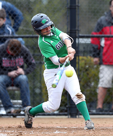 DAVID LE/Staff photo. Endicott College senior Jamie Corda ropes a RBI double against Roger Williams on Saturday afternoon. 4/23/16.
