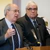 KEN YUSZKUS/Staff photo. John Leone, right, is in Salem Superior Court with his defense attorney Matthew Fineberg.    04/25/16