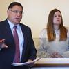 KEN YUSZKUS/Staff photo.    Kristen Labrie with her attorney John Morris at her bail hearing in Salem Superior Court.      04/14/16