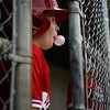 PAUL BILODEAU/Staff photo. Reds' Aiden DeAmelio watches his teammate at bat from the dugout during the annual Peabody Western Little League jamboree held at Cy Tenney Field in West Peabody.