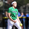 DAVID LE/Staff photo. Endicott College sophomore Mikaela Mallozzi fires a pitch against Roger Williams in game two of their double header. The Gulls swept the Hawks 6-2 and 9-3 on Saturdaya afternoon. 4/23/16.