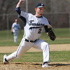 KEN YUSZKUS/Staff photo.    Peabody's pitcher Matt D'Amato replaced Pat Maguire on the mound at the Danvers at Peabody baseball game.       04/18/16