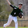 DAVID LE/Staff photo. Manchester-Essex starting pitcher Harry Painter fires a pitch against Pentucket on Saturday afternoon. 4/23/16.
