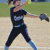 KEN YUSZKUS/Staff photo.  Peabody's pitcher Mallory LeBlanc winds up on the pitcher's mound during the Peabody at Beverly softball game at Innocenti Park.     04/20/16