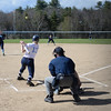 PAUL BILODEAU/Staff photo. The Fighting Scots' Emily Kline launches this ball into the outfield for a base hit during Gordon College's game against Lasell College in Wenham Tuesday afternoon.