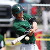DAVID LE/Staff photo. Pentucket's ____ O'Neil lines a single off Manchester-Essex starting pitcher Harry Painter. 4/23/16.