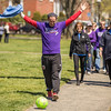 PARKER FISH/ photo. Chris Freeze, a teacher at Collins Middle School, completed the entire walk while dribbling a soccer ball. 4/24/16