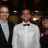 DAVID LE/Staff photo. Bruce Mueller, of Salem State University, left, with Erick Viana, of Peabody, and Yadira Martinez, of Salem, at a fundraiser to benefit LEAP for Education at the Danversport Yacht Club on Wednesday evening. 4/13/16.