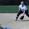 PAUL BILODEAU/Staff photo. The Fighting Scots' Sarah Ryder gets ready for a hit ball during Gordon College's game against Lasell College in Wenham Tuesday afternoon.