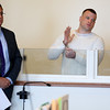 KEN YUSZKUS/Staff photo.    Todd Porter, right, is in Salem Superior Court to plead guilty to various charges. He was involved in a motor vehicle accident that resulted in the death of Christine Dinis who was killed in the other vehicle. His defense attorney John Morris is on the left.    04/25/16