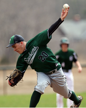 DAVID LE/Staff photo. Pentucket starting pitcher Mike D'Orsi fires a pitch against Manchester-Essex on Saturday afternoon. 4/23/16.
