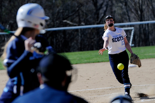 PAUL BILODEAU/Staff photo. The Fighting Scots' pitcher Emily Kline on the one in the second inning during Gordon College's game against Lasell College in Wenham Tuesday afternoon.