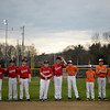 PAUL BILODEAU/Staff photo. Players line the infield as a ceremony marking the start of the season begins during the annual Peabody Western Little League jamboree held at Cy Tenney Field in West Peabody.