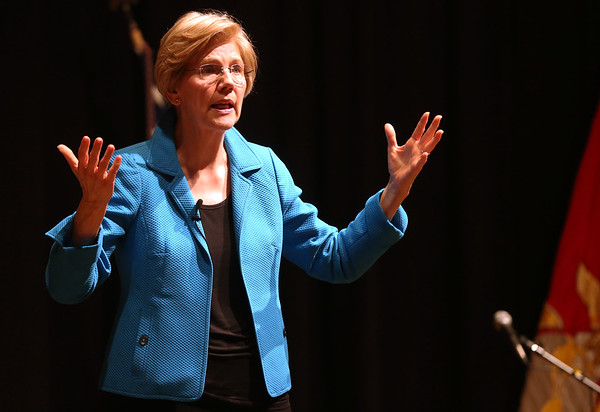 HADLEY GREEN/ Staff photo<br /> Senator Elizabeth Warren hosted a public town hall event at Salem High School on Thursday, April 13th, 2017. Warren took questions from the crowd and talked about a range of issues including healthcare, education, and the Trump administration.