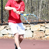 HADLEY GREEN/ Staff photo<br /> Marblehead's Justin Faia hits the ball during a singles game at the Marblehead v. Gloucester boys tennis match at Marblehead High School on Monday,  April 17th, 201