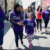 HADLEY GREEN/ Staff photo<br /> Stephanie Santos-Aguiar walks with her younger sister Jennifer during the 25th annual Walk for HAWC in Salem on Sunday, April 30th, 2017. The 5K walk raises money for HAWC, an organization that helps people affected by domestic abuse.