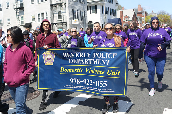 HADLEY GREEN/ Staff photo<br /> The Beverly Police Department Domestic Violence Unit was represented with a banner during the annual Walk for HAWC in Salem on Sunday, April 30th, 2017.