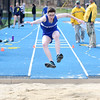 HADLEY GREEN/ Staff photo<br /> Danvers' Hannah Purcell high jumps at the Danvers v. Gloucester track meet at Danvers High School on Tuesday, April 18th, 2017.