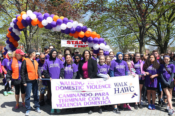 HADLEY GREEN/ Staff photo<br /> Salem Mayor Kim Driscoll stands at the starting line of the 25th annual Walk for HAWC in Salem on Sunday, April 30th, 2017 on the Salem Common. The 5K walk raises money for HAWC, an organization that helps people affected by domestic abuse.