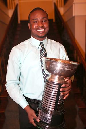 HADLEY GREEN/ Staff photo<br /> Hugh Calice of Beverly High School won the Salem News Student Athlete Award on Thursday, April 6th, 2017.