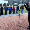 HADLEY GREEN/ Staff photo<br /> Captain Scott Wlasuk of Peabody addresses the crowd at the second annual Lost Lives Matter vigil for people who have died from opioid overdoses held at the Leather City Common in Peabody on Saturday, April 8th, 2017. Wlasuk spoke about what measures the Peabody Police Department are taking to battle the opioid epidemic.