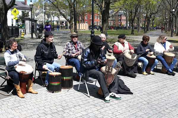 HADLEY GREEN/ Staff photo<br /> A drum line performed at the start line of the 25th annual Walk for HAWC in Salem on Sunday, April 30th, 2017 on the Salem Common.