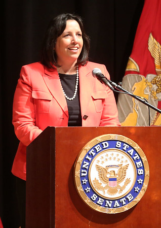 HADLEY GREEN/ Staff photo<br /> Salem Mayor Kim Driscoll speaks before Senator Elizabeth Warren's town hall event at Salem High School on Thursday, April 13th, 2017.
