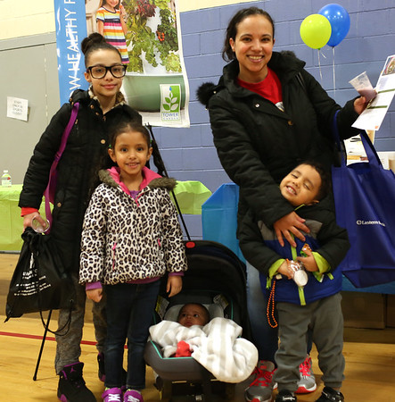 HADLEY GREEN/ Staff photo<br /> Julissa De La Cruz and her children, Joelise, Jazlyn, Giovanni, and Christian attend the annual Marblehead Chamber Health and Wellness Fair at the Lynch Van Otterloo YMCA in Marblehead on Saturday, April 8th, 2017.