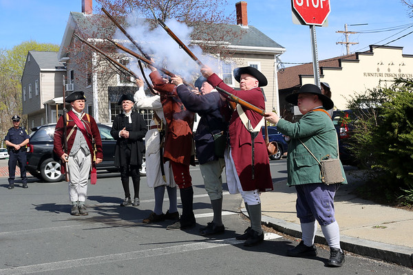 HADLEY GREEN/ Staff photo<br /> Members of the Danvers Alarm List Company fire their guns at the annual wreath-laying ceremony honoring the fallen soldiers of south Danvers at the Battle of Lexington at the Lexington Monument in Peabody on Monday, April 17th, 2017.