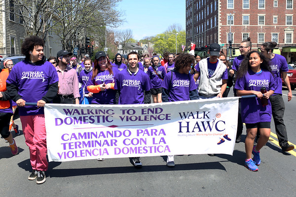 HADLEY GREEN/ Staff photo<br /> People march down Washington Square West at the 25th annual Walk for HAWC in Salem on Sunday, April 30th, 2017. The 5K walk raises money for HAWC, an organization that helps people affected by domestic abuse.