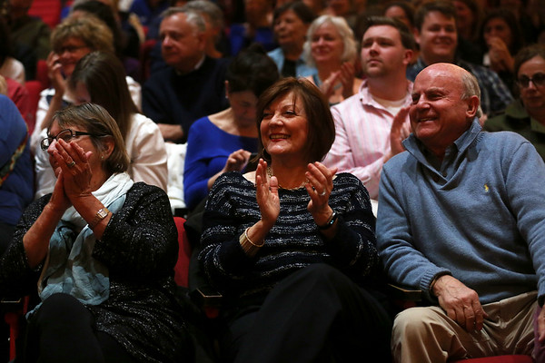 HADLEY GREEN/ Staff photo<br /> People in the audience clap during a town hall hosted by Senator Elizabeth Warren at Salem High School on Thursday, April 13th, 2017.